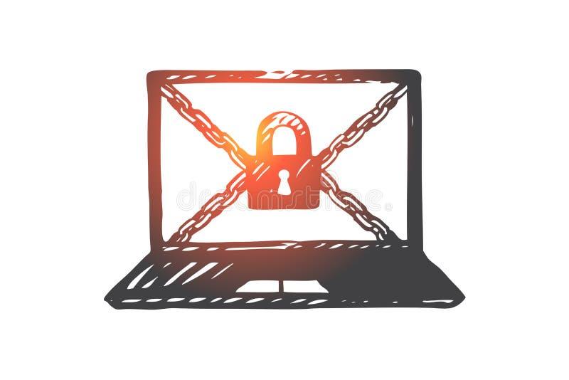 Computer, Schutz, Zugang, Daten, Verschlusskonzept Hand gezeichneter lokalisierter Vektor stock abbildung