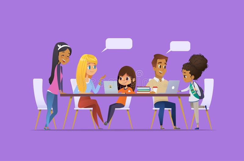 Computer Science Club. Happy children and students sitting at laptops talk to each other and learning programming. Coding for kids concept. Vector illustration stock illustration