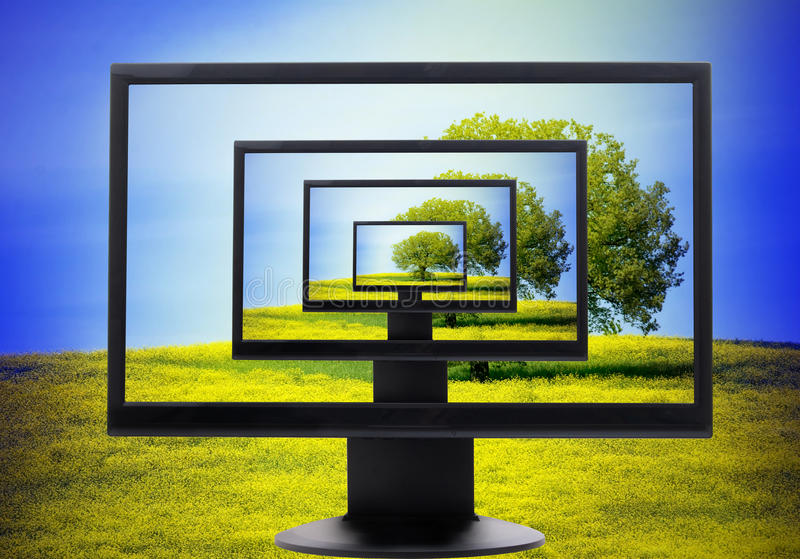 Computer screen. 3D computer screen with landscape background