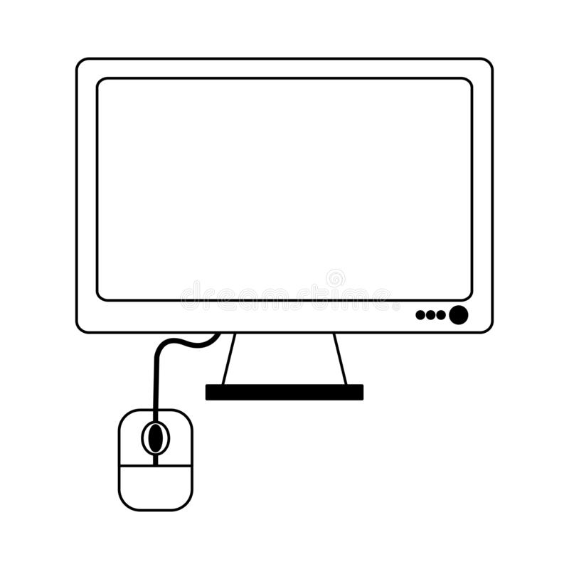 Computer screen amd mouse symbol in black and white. Computer screen amd mouse symbol vector illustration graphic design royalty free illustration