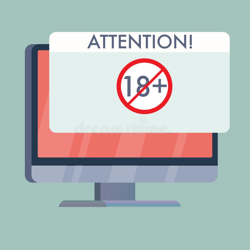 computer screen with attention adults only sign stock illustration