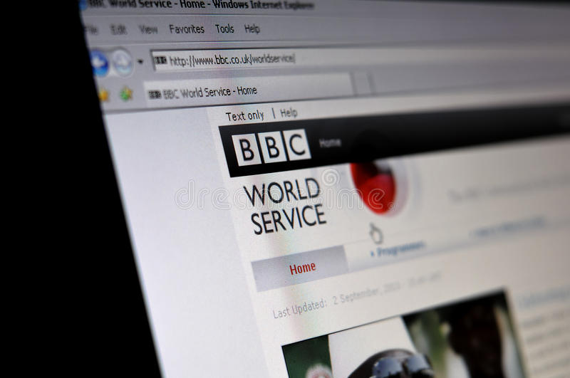 Computer screen with BBC World Service page. This photograph represent a computer screen with BBC World Service community page stock photo