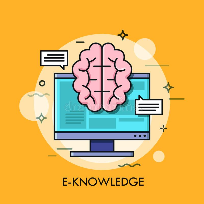 Computer screen and brain. E-knowledge, electronic learning, internet studying and online education concept. Vector illustration in thin line style for website vector illustration