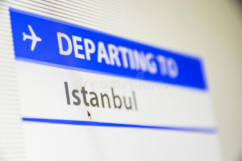 Computer screen close-up of flight to Istanbul stock photo