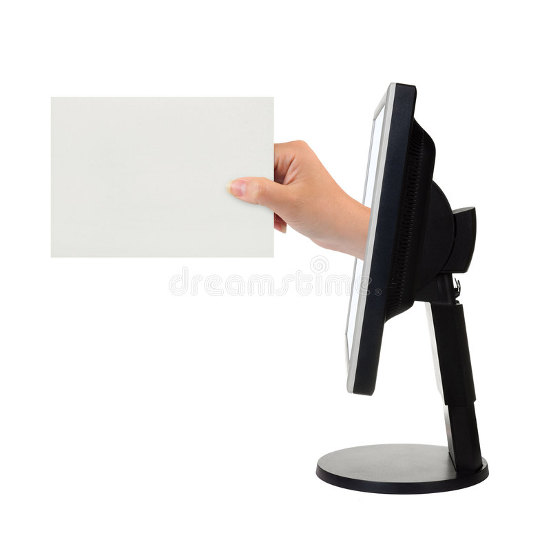 Computer screen and hand with card royalty free stock photo