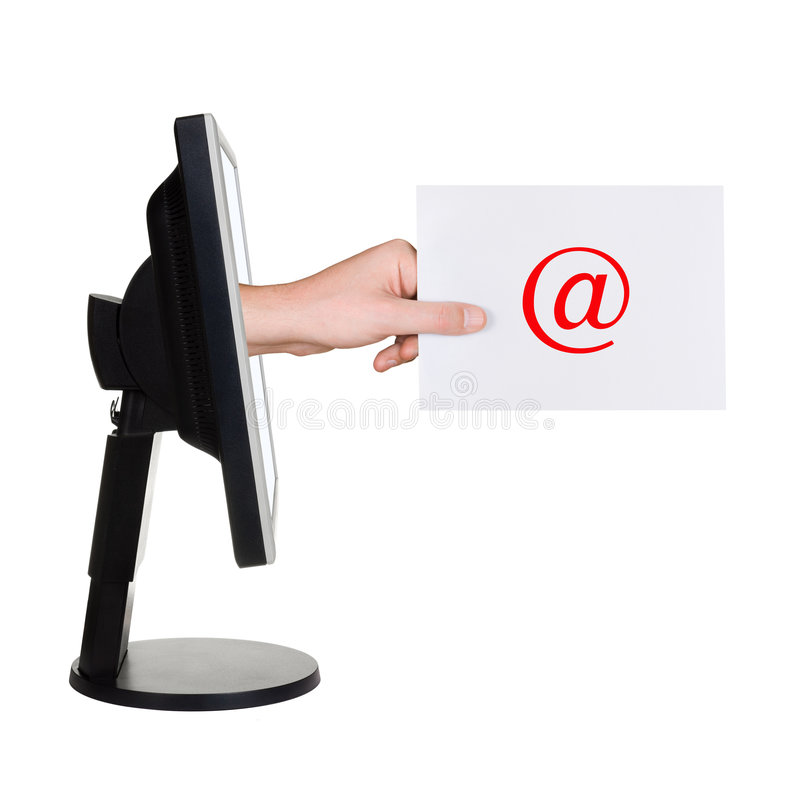 Download Computer Screen And Hand With Letter Stock Image - Image: 5412183
