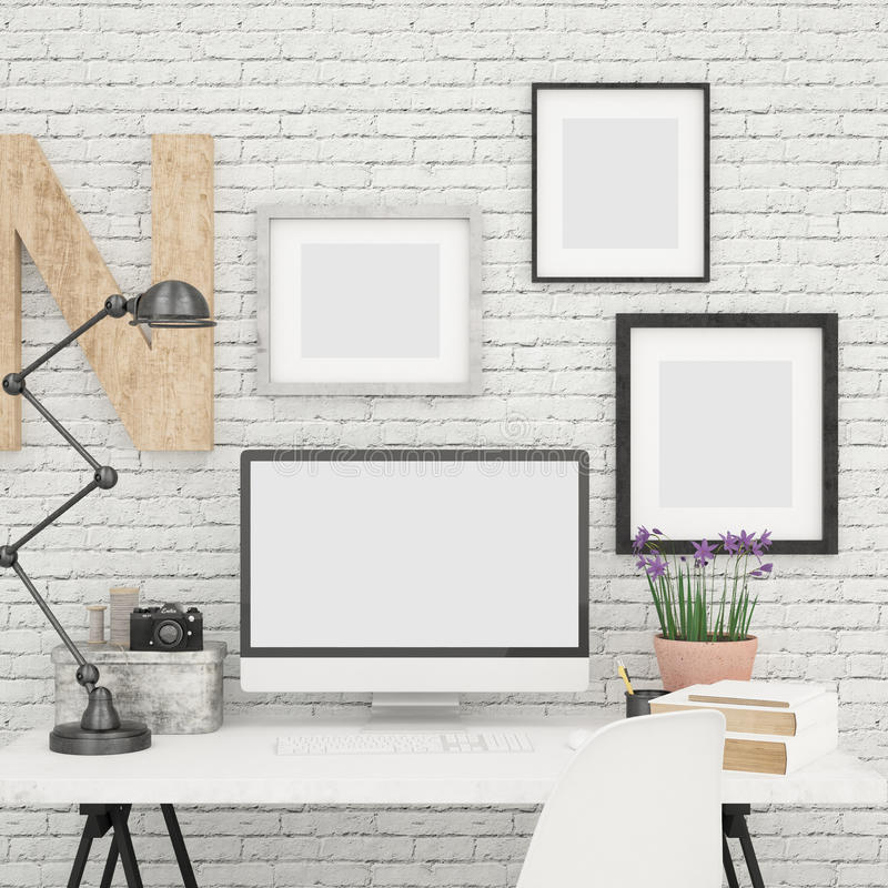 Computer Screen Mock Up And Photo Frames Mock Up In Contemporary And Modern Office. 1 Computer Screen Mock Up And 3 Photography, Design And Artwork vector illustration