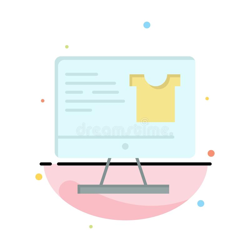 Computer, Screen, Monitor, Shopping Abstract Flat Color Icon Template stock illustration