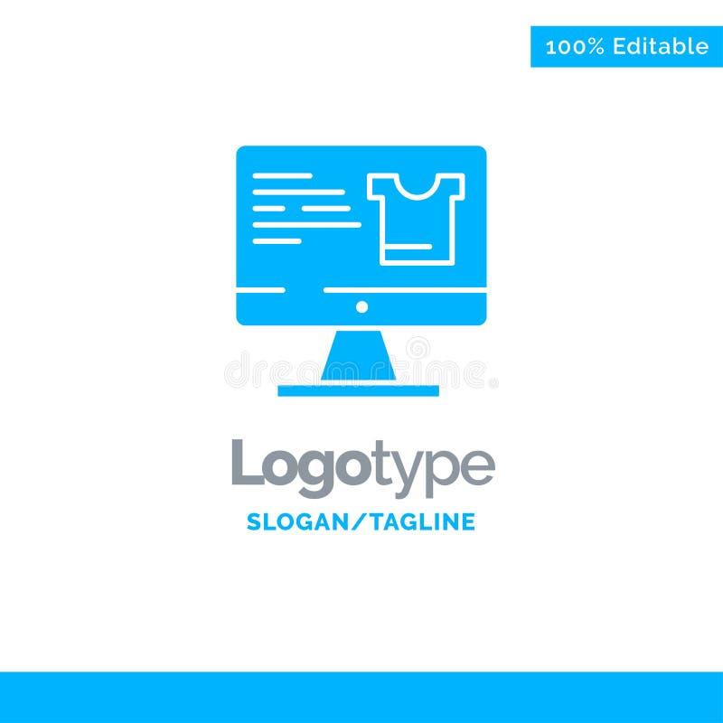 Computer, Screen, Monitor, Shopping Blue Business Logo Template vector illustration