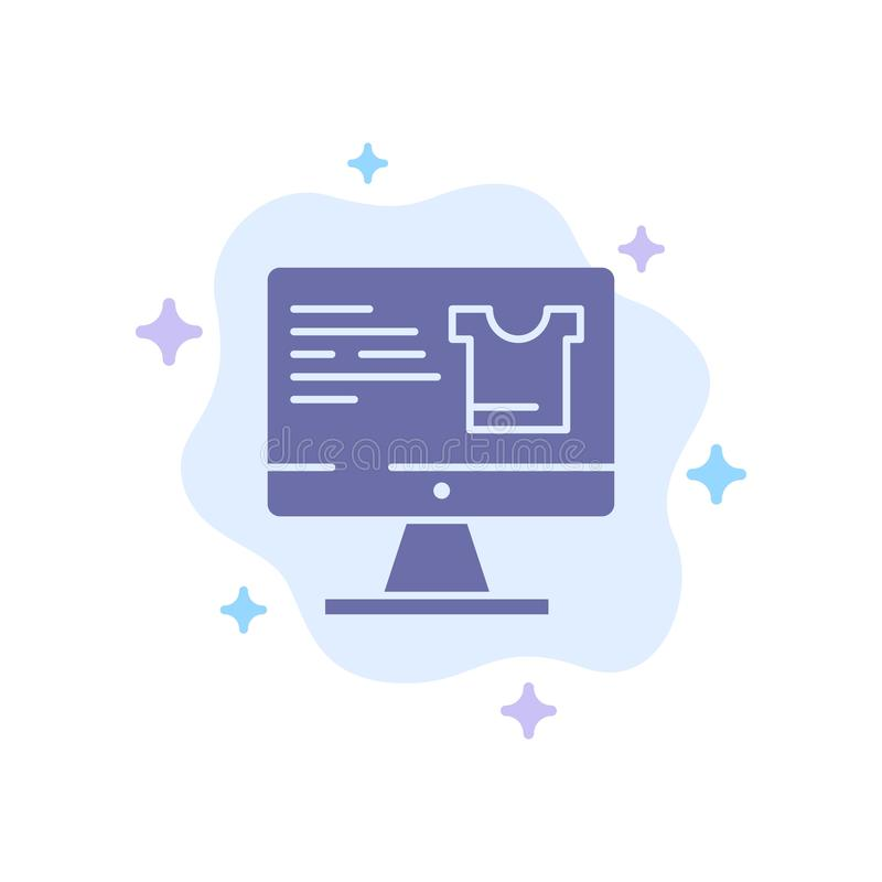 Computer, Screen, Monitor, Shopping Blue Icon on Abstract Cloud Background royalty free illustration