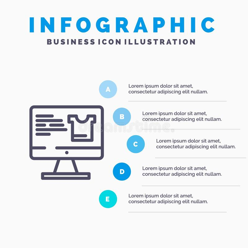 Computer, Screen, Monitor, Shopping Blue Infographics Template 5 Steps. Vector Line Icon template vector illustration