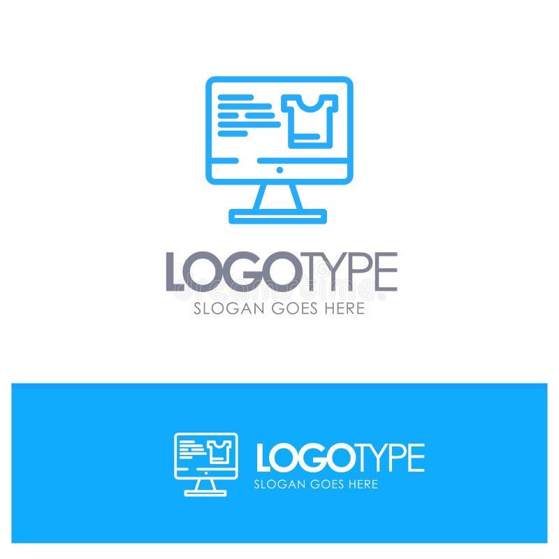 Computer, Screen, Monitor, Shopping Blue Logo Line Style vector illustration