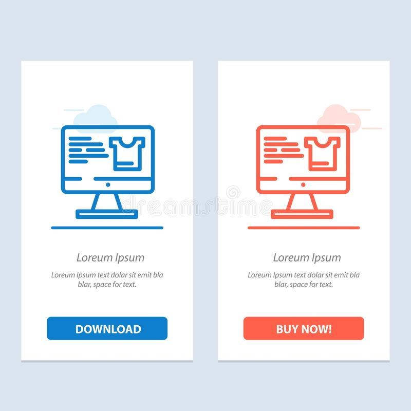 Computer, Screen, Monitor, Shopping  Blue and Red Download and Buy Now web Widget Card Template stock illustration