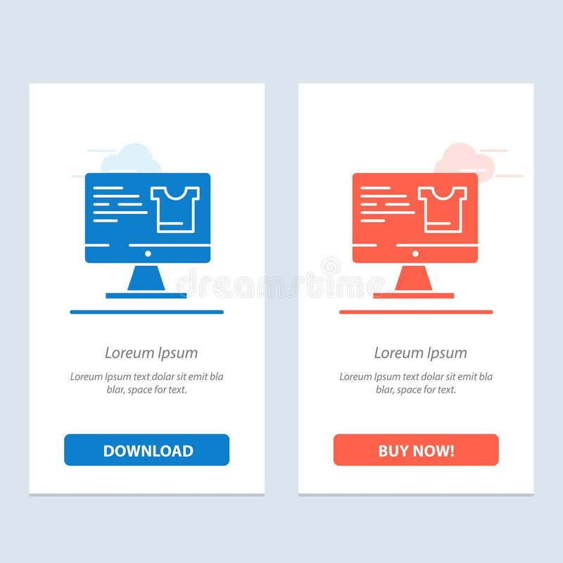 Computer, Screen, Monitor, Shopping  Blue and Red Download and Buy Now web Widget Card Template vector illustration