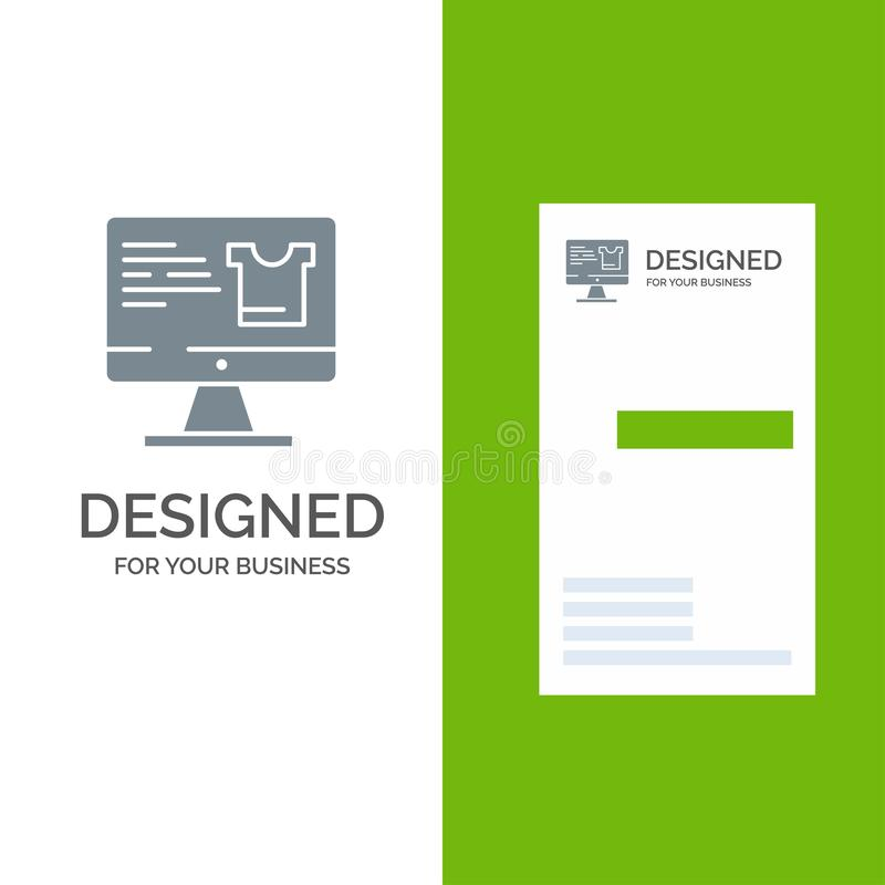 Computer, Screen, Monitor, Shopping Grey Logo Design and Business Card Template vector illustration