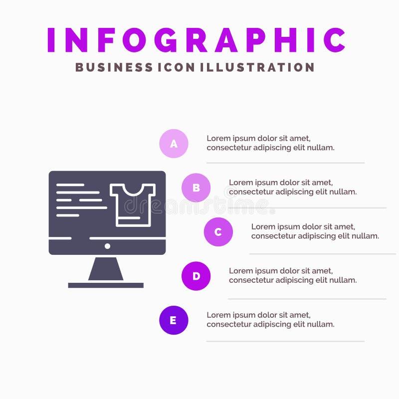 Computer, Screen, Monitor, Shopping Infographics Presentation Template. 5 Steps Presentation royalty free illustration