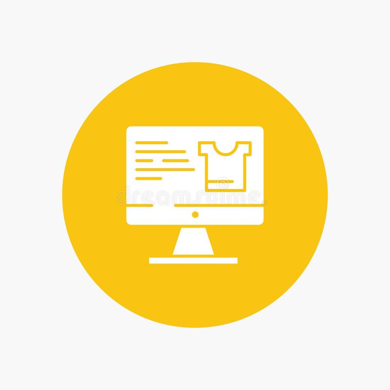 Computer, Screen, Monitor, Shopping white glyph icon royalty free illustration