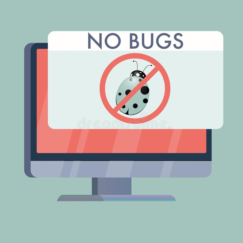 computer screen with no bugs sign flat vector illustration