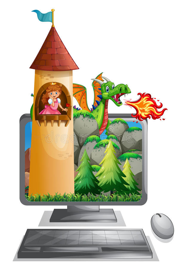 Computer screen with princess in the tower. Illustration royalty free illustration