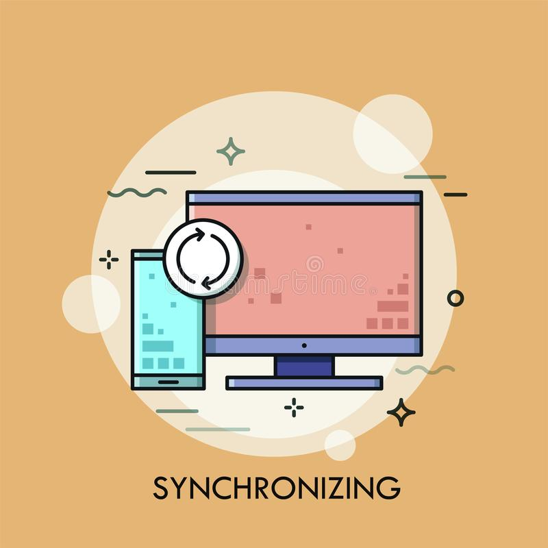 Computer screen, smartphone and synchronization sign. vector illustration