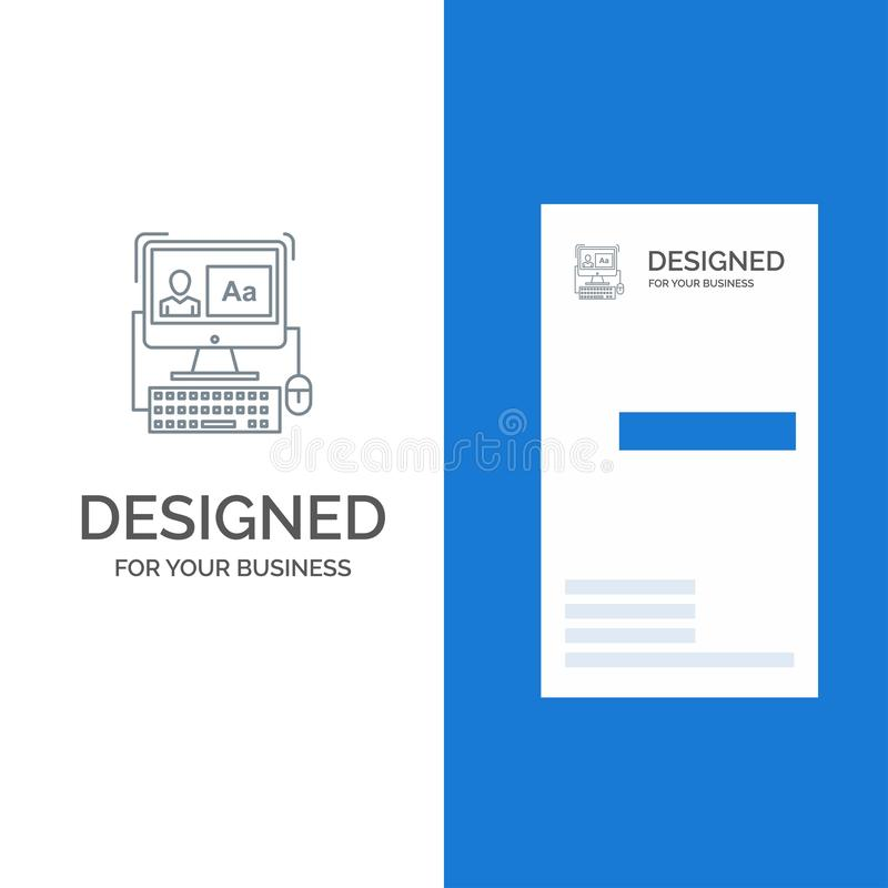 Computer, Screen, Software, Editing Grey Logo Design and Business Card Template vector illustration
