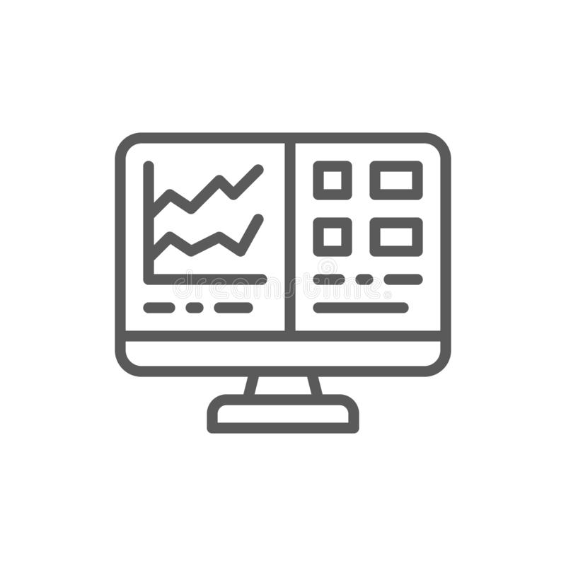 Computer screen with spreadsheet, financial accounting report line icon. vector illustration