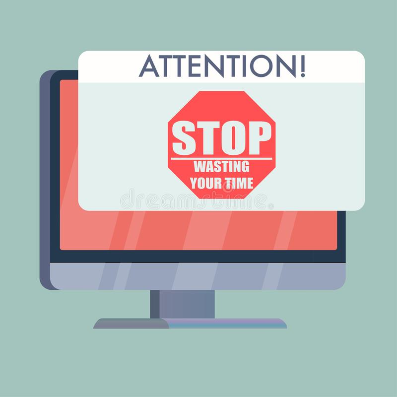 computer screen with stop wasting your time stock illustration