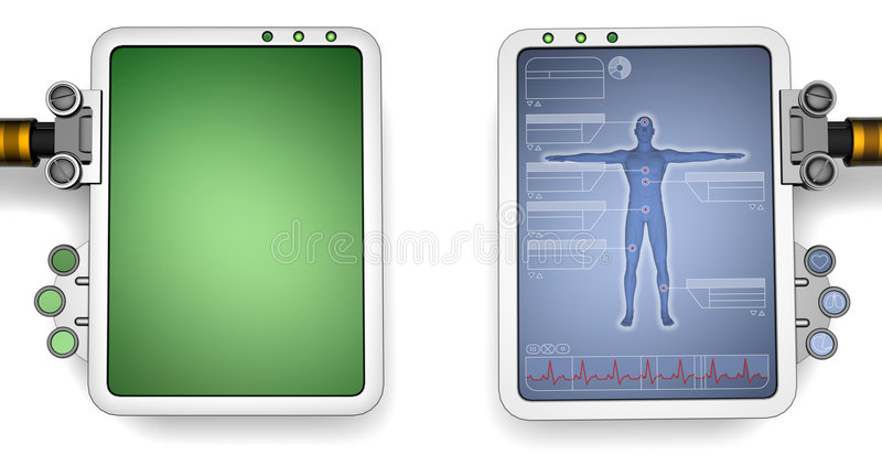 Computer screens. Two versions of a futuristic computer screen, one blank, the other medical related stock illustration