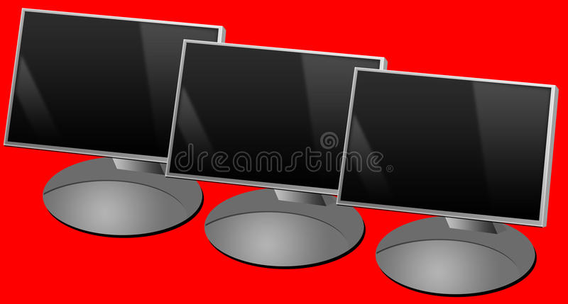 Computer screens. Computer flat screens lined up (copy space provided on the screens royalty free illustration