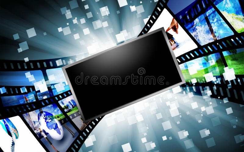 Computer screens with images. Image of multiple computer screens with various images vector illustration