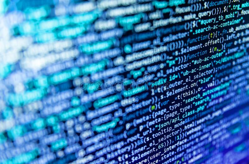 Computer script coding source code on desktop monitor. Screen of code for overlay background. Software background technology. The. Concept of modern technology royalty free stock photo