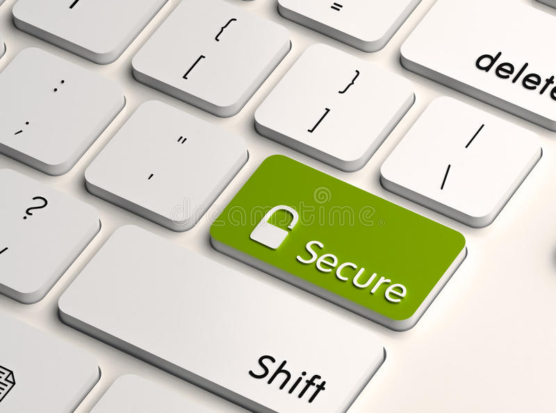 It computer security. Computer or IT security concept, green secure key on white keyboard with lock sign vector illustration