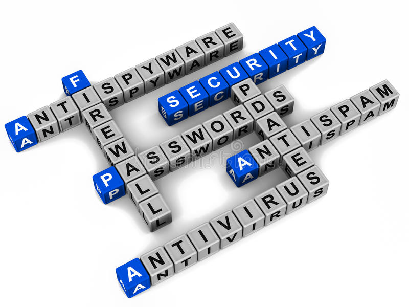 Computer security. Internet or computer online security concept crossword on white background vector illustration