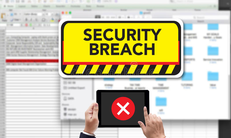 Computer Security Breach Cyber Attack Computer Crime Password Se. Curity, on the tablet pc screen held by businessman hands - online, top view stock image