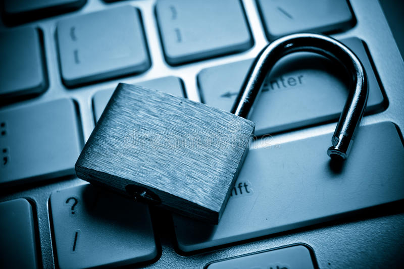 Computer security breach stock photography