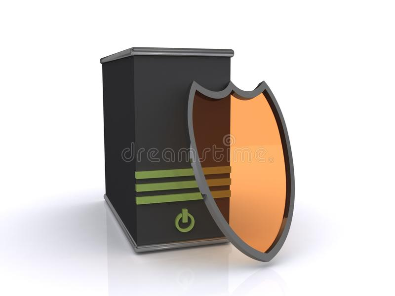 Computer security concept. 3d illustration of computer tower with shield in front, security concept isolated on white background stock illustration