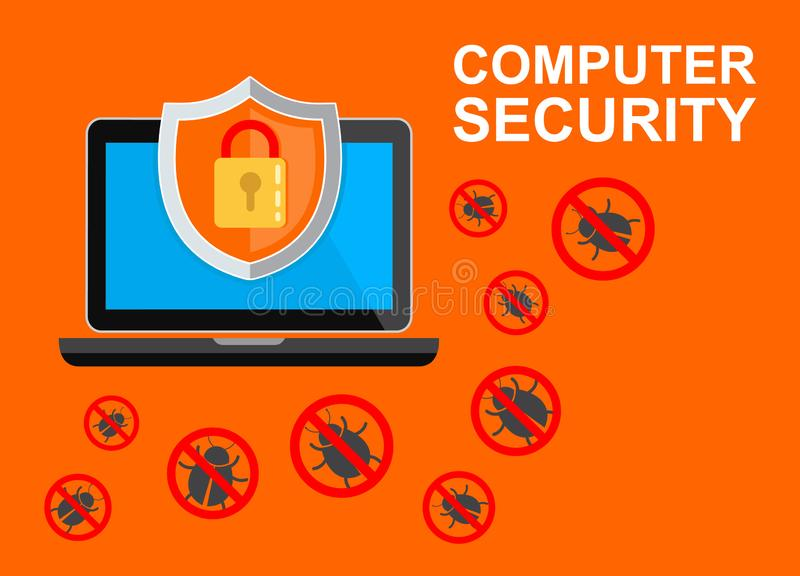 Computer security concept. Laptop with shield and lock on table. Flat vector illustration. stock illustration