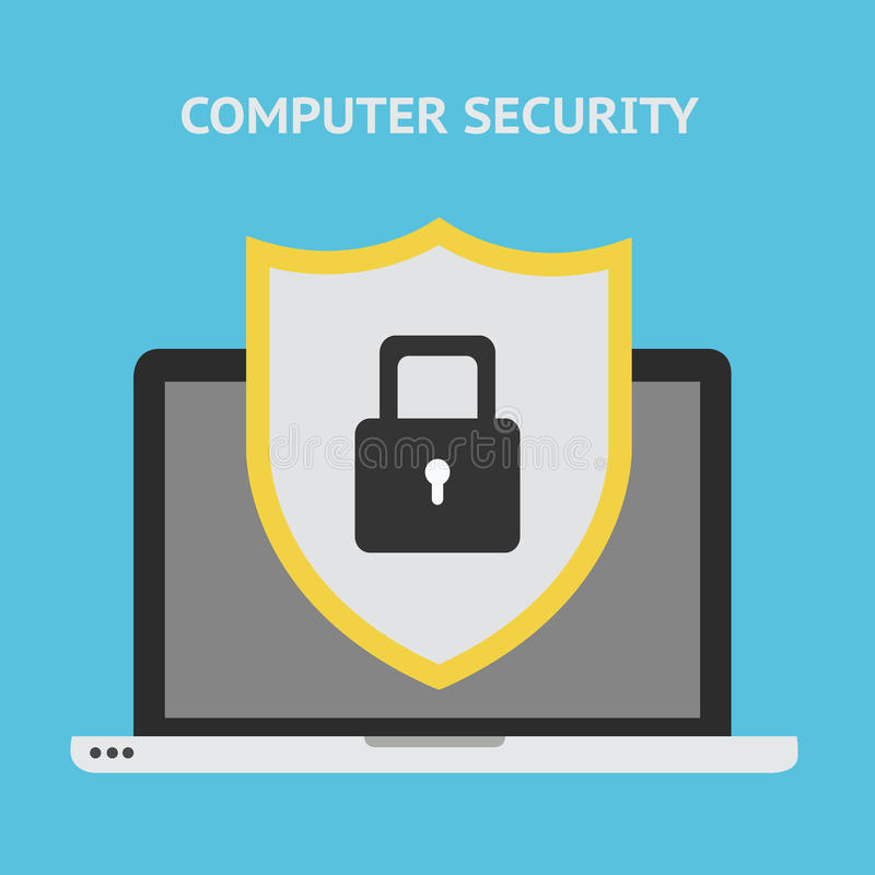 Computer security concept. Laptop with shield and lock on table. royalty free illustration