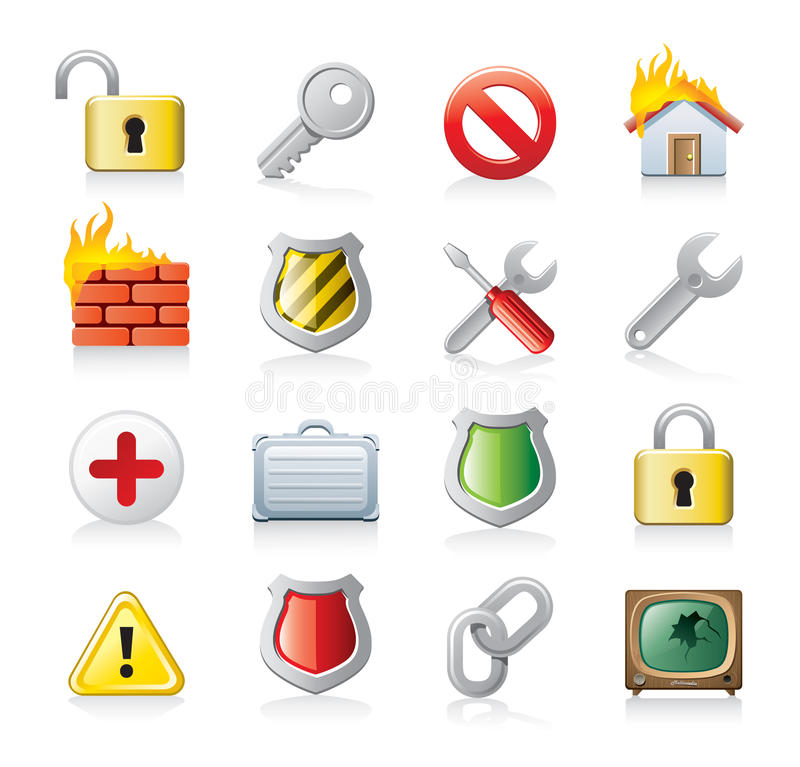 computer security icon set stock illustration