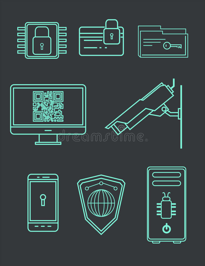 Computer Security Icon Set. Data Encryption and Protection from Hacking. Vector Illustration royalty free illustration