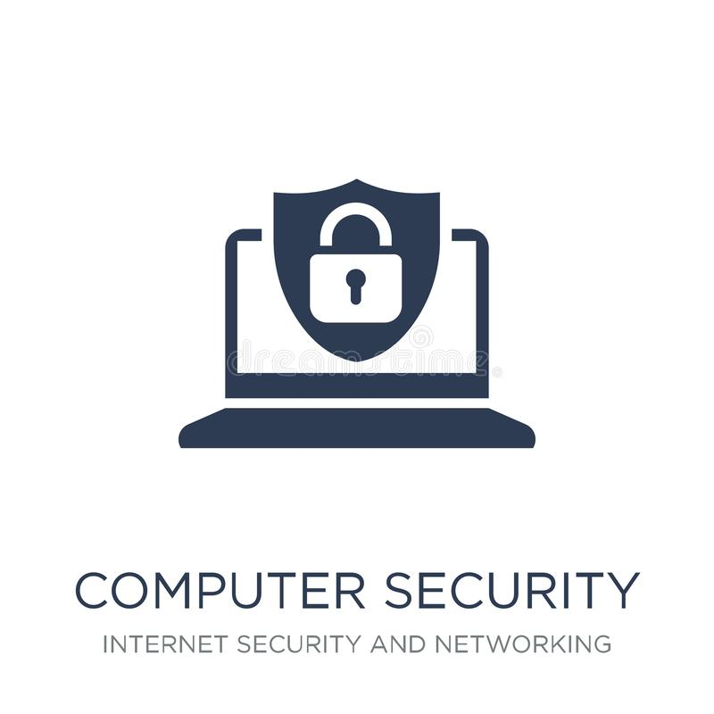 Computer security icon. Trendy flat vector Computer security icon on white background from Internet Security and Networking. Collection, vector illustration can stock illustration
