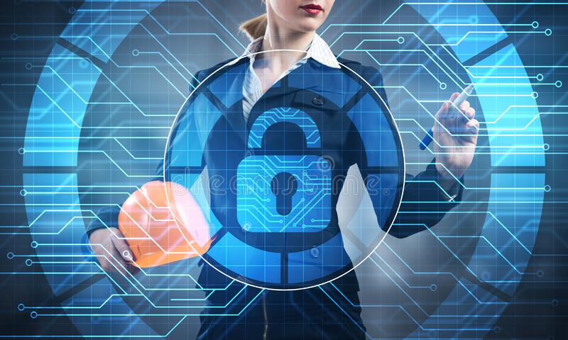 Computer security and information technology. Virtual padlock blue hologram and business woman with safety helmet. Risk management and professional stock photo