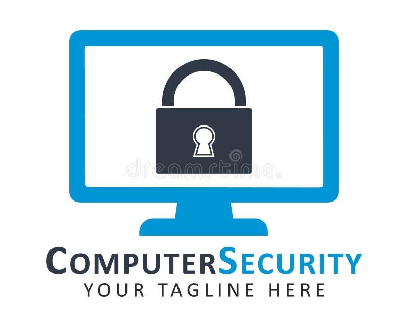Computer security logo. Key symbol on monitor screen royalty free illustration