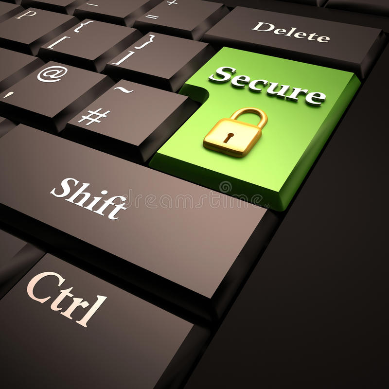 Computer security online. Online or computer security: keyboard key in green color with golden lock vector illustration