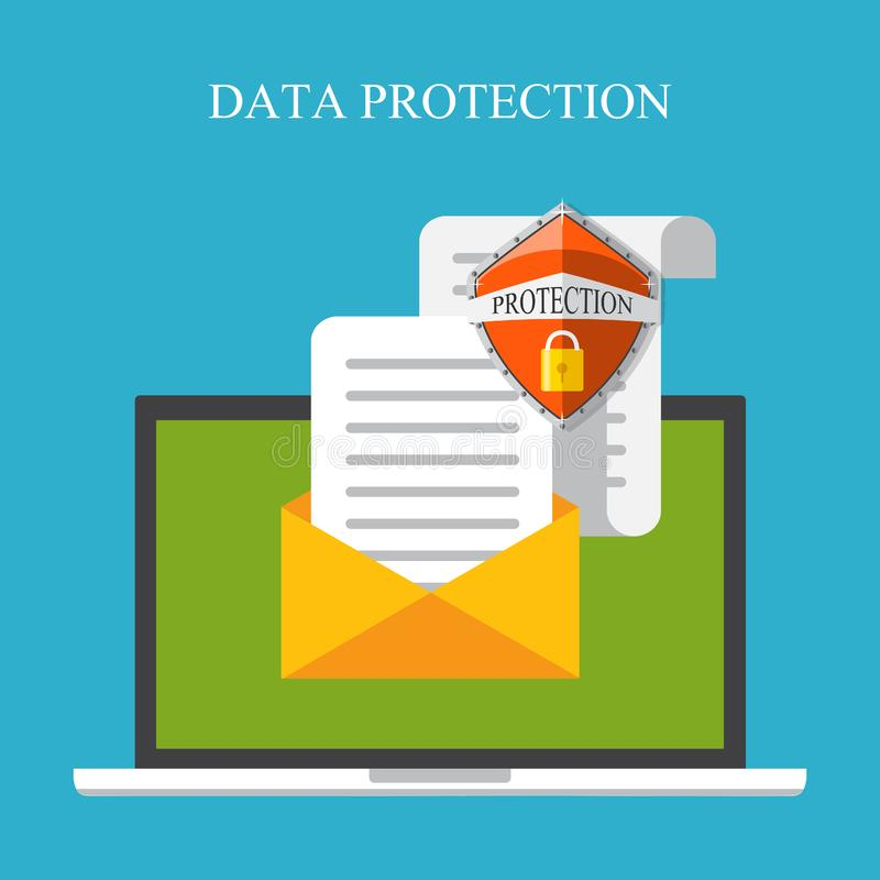 Computer security, security center, online safety, data protection concept. Laptop with shield and lock. Flat vector illustration. Laptop with shield and lock stock illustration