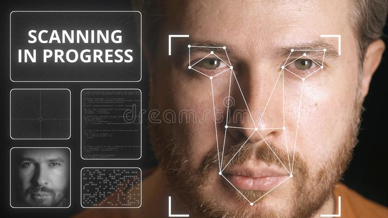 Electronic security system scanning man`s face royalty free stock photo