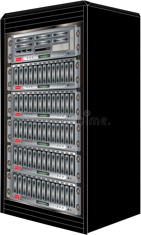 Computer Server Cabinet. Illustration of cabinet with racked computer server and storage, Vector drawn with accompanying vector formats royalty free illustration