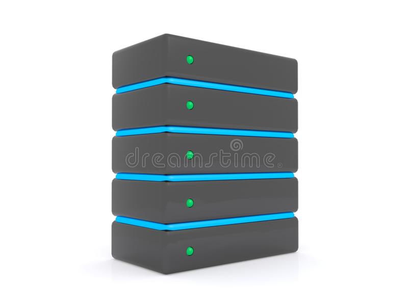 Computer server. 3d illustration of computer server isolated on a white background stock illustration