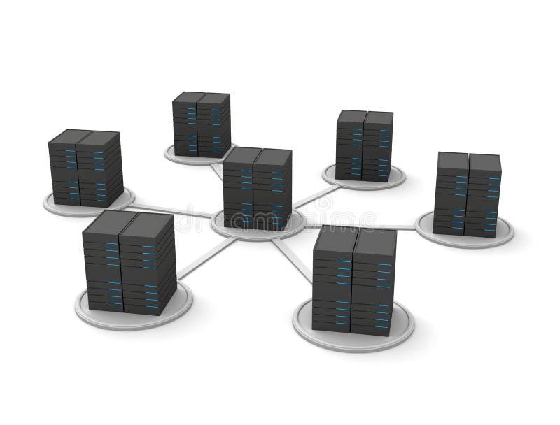 Computer server. 3d render illustration.Computer server vector illustration