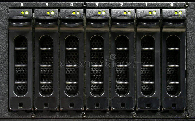 Computer/Server Hard Drives. Close-up of hot swappable hard drives royalty free stock photos